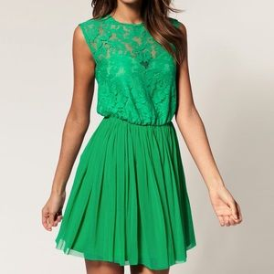 ASOS Green Skater Dress with Lace and Mess, Size 4